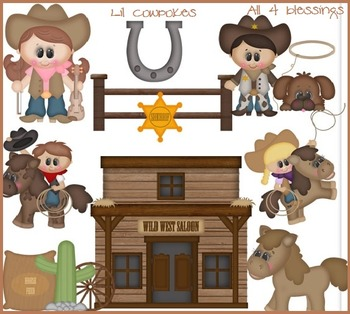 Little Cowpokes Kids Clipart ~ Western Cowboys Cowgirls ~