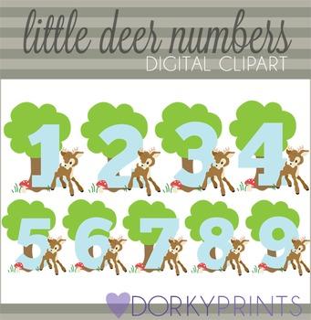 Little Deer Numbers Clip Art