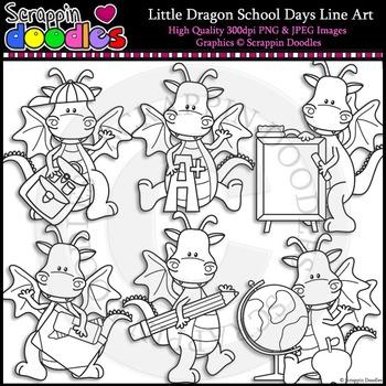 Little Dragon School Days Line Art