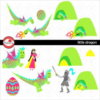Little Dragon Story Elements Clipart by Poppydreamz
