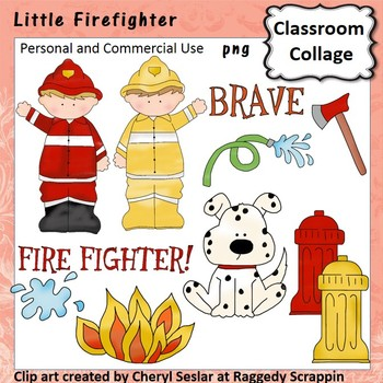 Little Firefighter clip art - Color - personal/comm  use