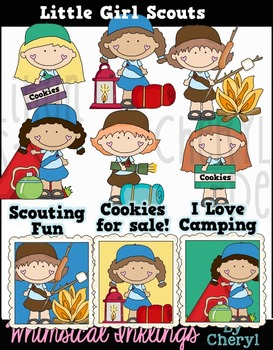 Little Girl Scouts Clipart Collection