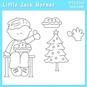 Little Jack Horner Line Drawings Clip Art  C. Seslar