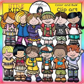 Little Kids Set 1  clip art- color and B&W