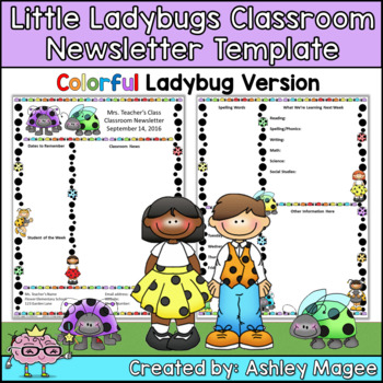 Little Lady Bugs Editable Classroom Newsletter Template -