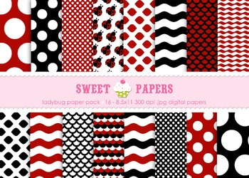 Little Ladybug Digital Paper Pack - by Sweet Papers