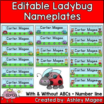 Little Ladybug Friends Editable Name plates /Desk Plates /