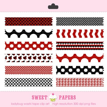 Little Ladybug Washi Tape Digital Clip Art Set - by Sweet Papers