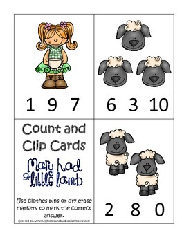 Little Lamb themed Count and Clip Cards child math curricu