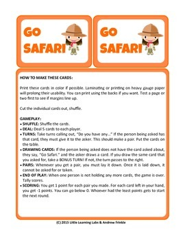 Little Learning Labs - Go Safari Card Game - Remix of Clas