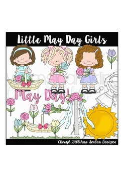 Little May Day Girls Clipart Collection