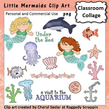 Little Mermaids - Color - pers & comm ocean dolphin sea sh