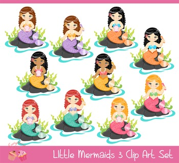 Little Mermaids 3 Clipart Set