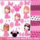 Little Minnies Minnie Mouse Pink Girls Clipart Set