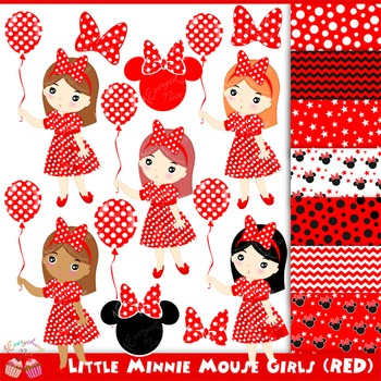 Little Minnies Minnie Mouse Red Girls Clipart Set