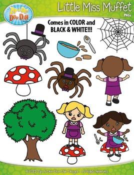 Little Miss Muffet Nursery Rhyme Clipart Set — Over 60 Graphics!