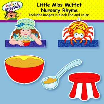 Little Miss Muffet Nursery Rhyme Headbands & Sentence Strips
