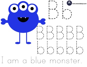 Freebie- Little Monsters Blue Monster Letter Trace