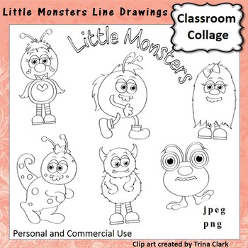 Little Monsters Clip Art b/w line drawings   personal & co