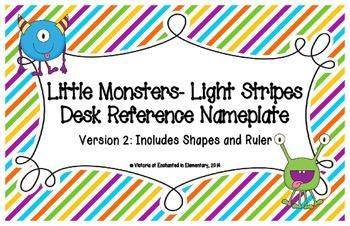 Little Monsters- Light Stripes Desk Reference Nameplates V