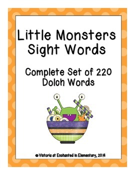 Little Monsters Sight Words! Complete Set of All 5 Dolch Lists