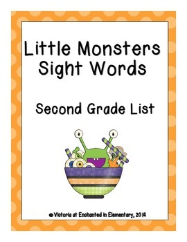Little Monsters Sight Words! Second Grade Dolch List Pack