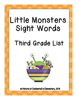 Little Monsters Sight Words! Third Grade Dolch List Pack