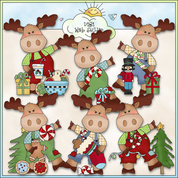 Little Moose Christmas Wishes Clip Art - CU Colored Clip Art