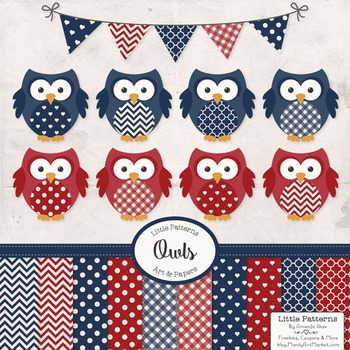 Americana Owl Vectors & Papers - Baby Owl Clipart, Owl Cli