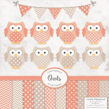 Antique Peach Owl Vectors & Papers - Baby Owl Clipart, Owl