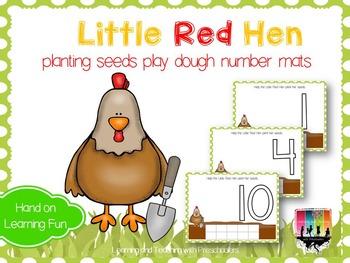 Little Red Hen planting seeds Play Dough Number Mats