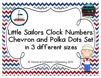 Little Sailors Clock Numbers: Chevron and Polka Dots Set