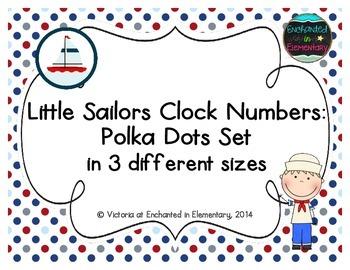 Little Sailors Clock Numbers: Polka Dots Set