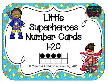 Little Superheroes Number Cards 1-20