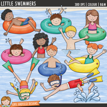 "Swimming Kids Clip Art: ""Little Swimmers"""