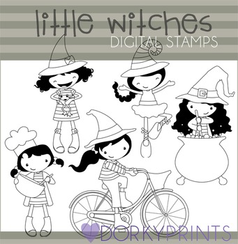 Little Witches Halloween Black Line Clipart