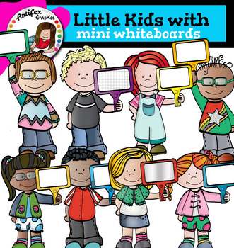Little kids with Mini Whiteboards clip art -Color and B&W-