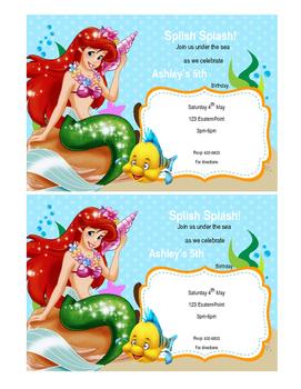 Little mermaid editable PowerPoint invitation