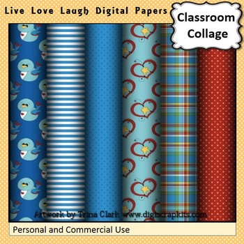 Live Love Laugh Blue and Red Digital Papers Set Color  per