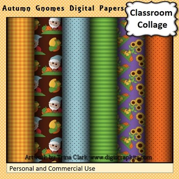 Autumn Gnomes Digital Papers Set Color  personal & commercial use
