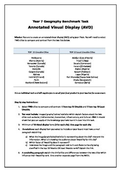 Liveability Assessment Task Yr 7