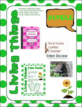 Living Things Bundle (Task Cards, Interactive Notebook, Vi