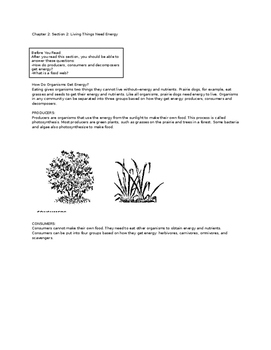 Ecology Reading Notes Packet: Living Things Need Energy