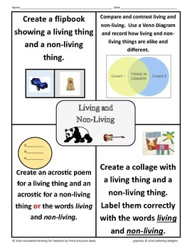 Living and Non-Living Choice Board
