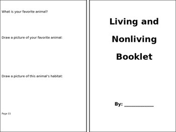 Living and Nonliving Booklet