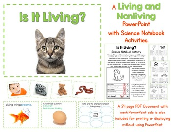 Living and Nonliving Things PowerPoint and Science Noteboo