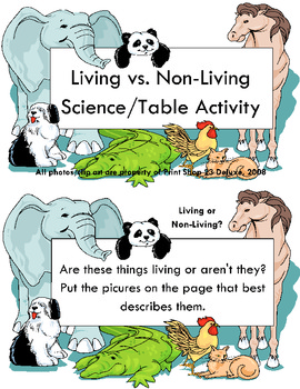 Living/Non-Living Science Center or Table Activity