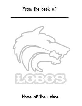 Lobo Mascot Memo sheet
