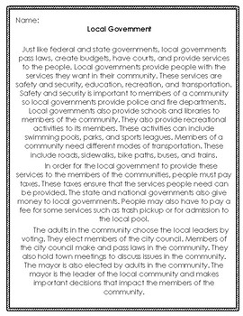 Local Government Reading Passage