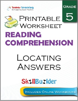 Locating Answers Printable Worksheet, Grade 5